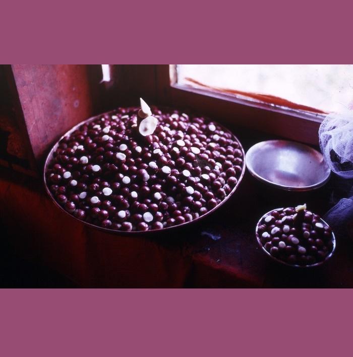 <strong>A Tengboché nel 15 giorno dell'Om Mani Rimdu</strong> - il giorno fausto della luna piena, i pellegrini raggiungono la gompa che contiene il mandala per ricevere le pillole taumaturgiche Mani Rilwu.