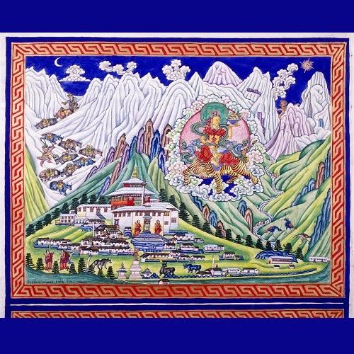 <strong>Dipinto di Norbu Pasang</strong>, pittore Sherpa, che rappresenta il monastero di Tengboché con alle spalle il monte Everest che i tibetani venerano come trono della divinità Chomolungma – Dea Madre dell'Universo.